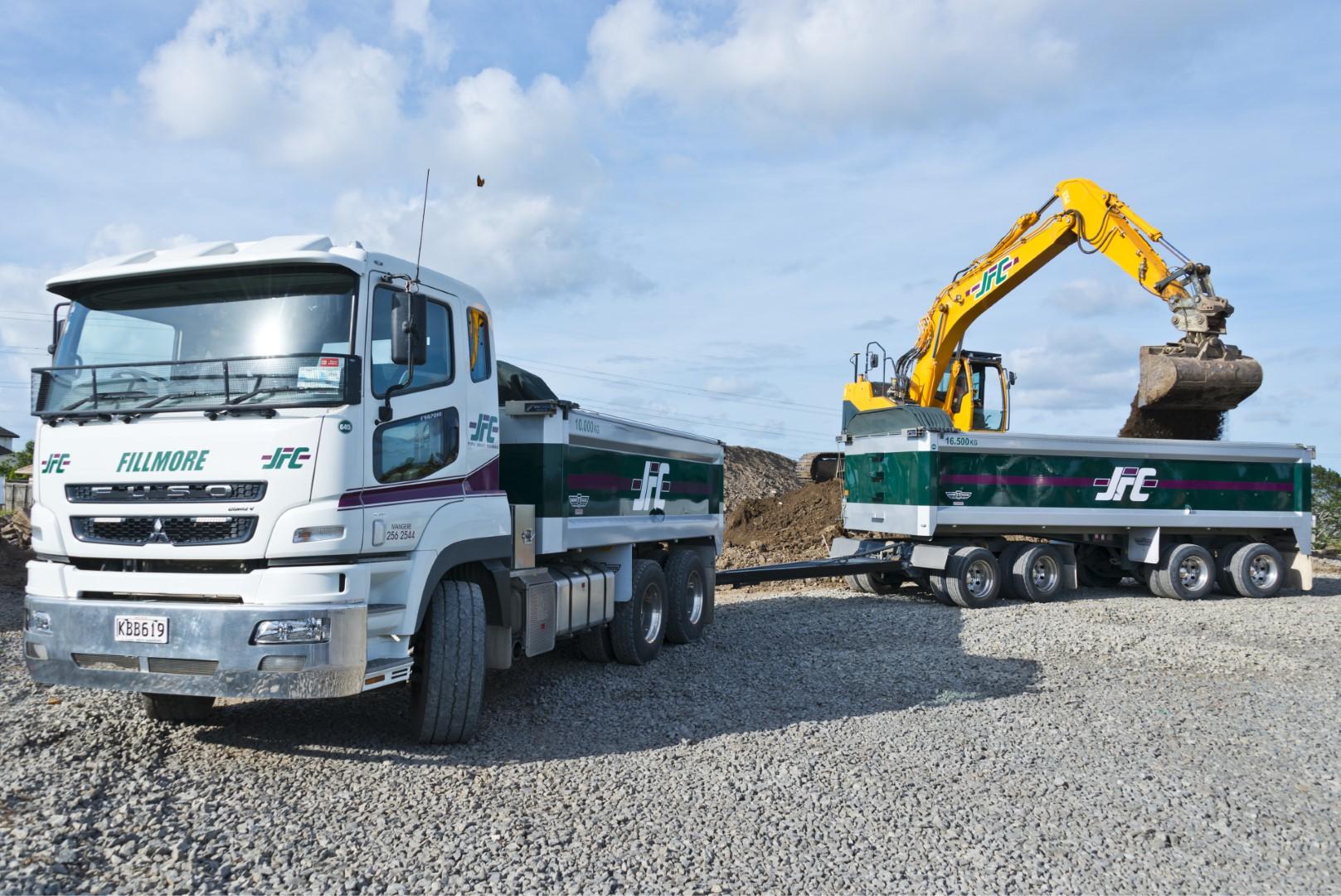 JFC transport truck and digger